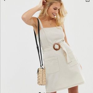 OFF WHITE ASOS BELTED DRESS